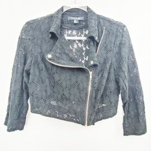 Forever 21 Cropped Black Lace Moto Jacket